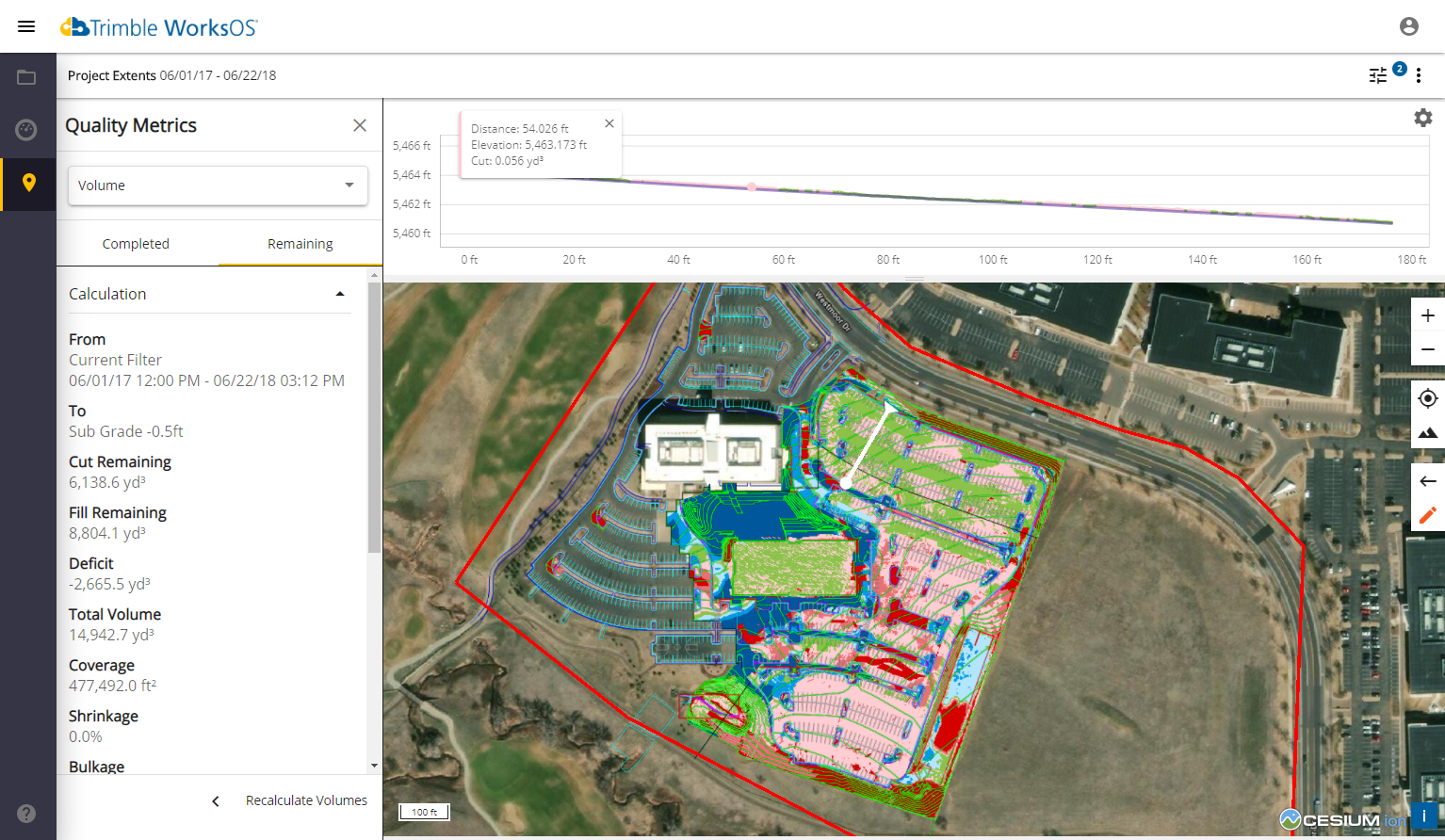 Trimble-WorksOS-In-progress Cut-Fill and Grade Monitoring2