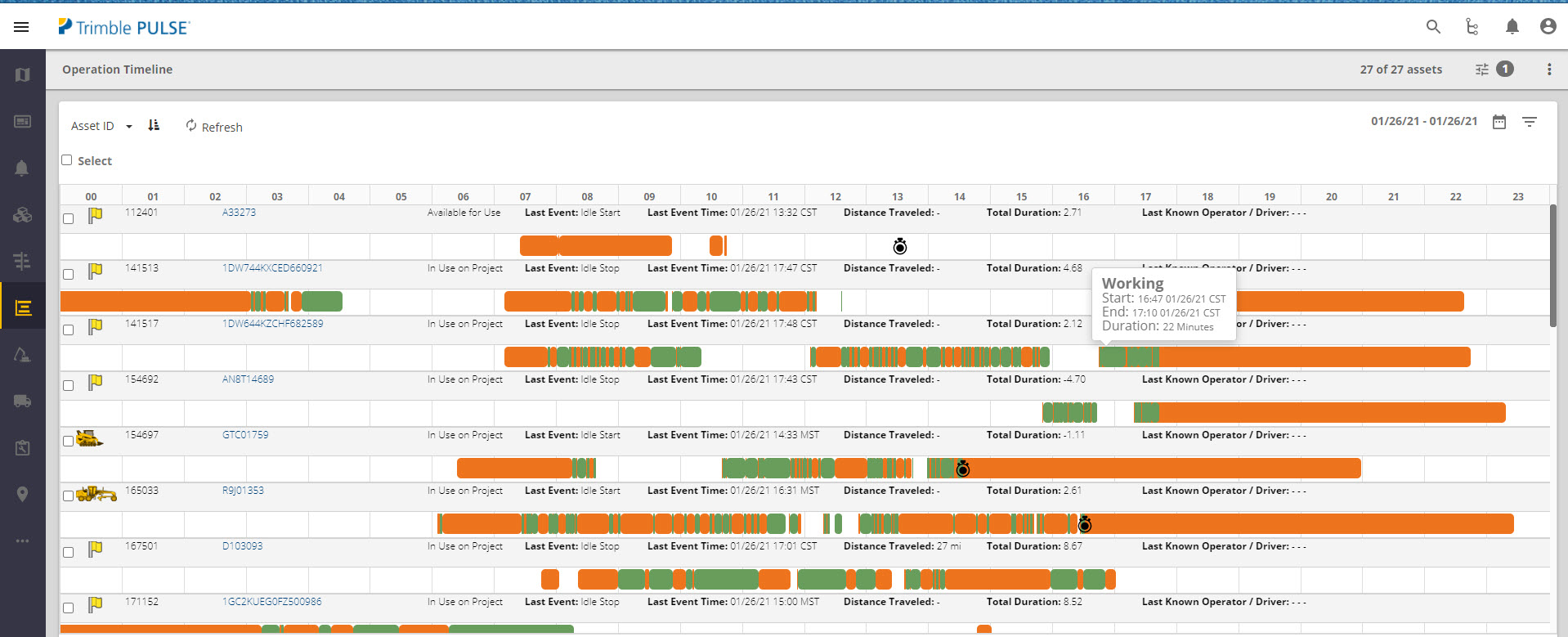 Trimble-PULSE-asset-operation-timeline-dashboard